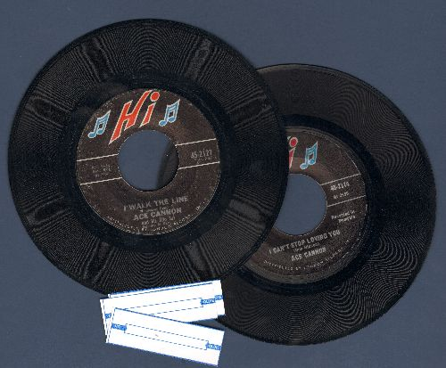 Cannon, Ace - 2 for 1 Special: I Walk The Line/I Can't Stop Loving You (2 vintage first issue 45rpm records for the price of 1! Shipped in plain white paper sleeves with 3 blank juke box labels) - NM9/ - 45 rpm Records