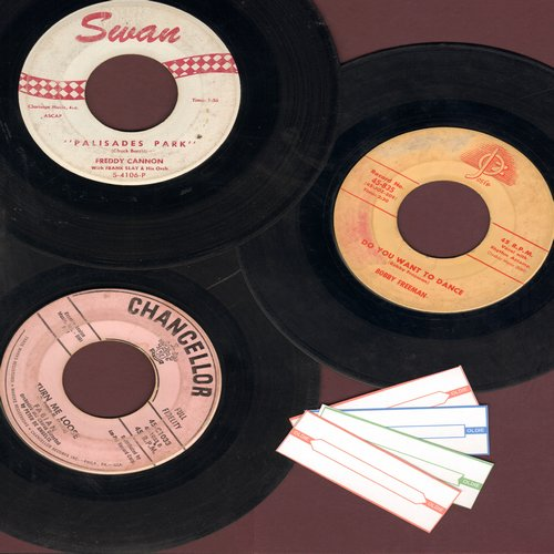 Fabian, Freddy Cannon, Bobby Freeman - Vintage Sock-Hoppin' Teen Idol 3-Pack: First issue 45s include hits Turn Me Loose,Palisades Park and  Do You Wanna Dance? - Shipped in plain white paper sleeves with 4 blank juke box labels. - VG7/ - 45 rpm Records