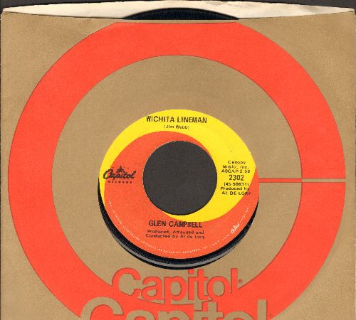 Campbell, Glen - Wichita Lineman/Fate Of Man (with Capitol company sleeve) - VG7/ - 45 rpm Records