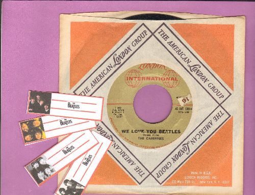 Carefrees - We Love You Beatles/Hot Blooded Lover (with vintage London company sleeve and BONUS 4 Blank  Beatles juke box labels!) - VG7/ - 45 rpm Records