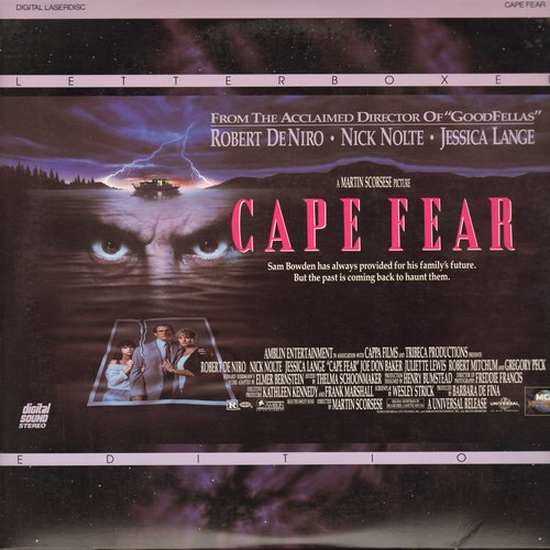 Cape Fear - Cape Fear - Letterboxd Laser Disc version of the Classic Thriller starring Robert DiNiro, Mick Nolte and Jessica Lange  (Thes are 2 LASER DISCS, not any other kind of media!) - NM9/NM9 - Laser Discs