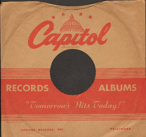 Company Sleeves - 10 inch vintage Capitol company sleeve (exactly as pictured), shipped in 10 inch clear plastic sleeve. Enhances and protects you collectable 10 inch 78 rpm record! DUE TO POST OFFICE REGULATIONS THIS ITEM CAN ONLY BE SENT PRIORITY MAIL.