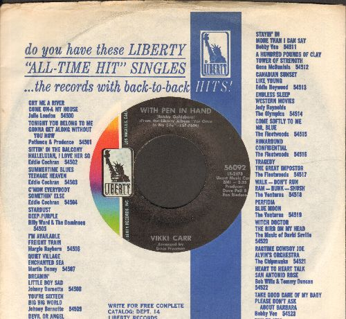 Carr, Vikki - With Pen In Hand/Can't Take My Eyes Off You (with Liberty company sleeve) - NM9/ - 45 rpm Records