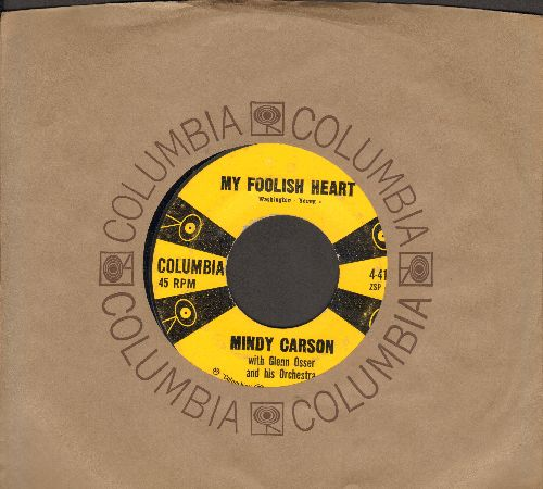 Carson, Mindy - My Foolish Heart/Knock On Wood (Holler Mazel Tov) (with Columbia company sleeve) - VG7/ - 45 rpm Records