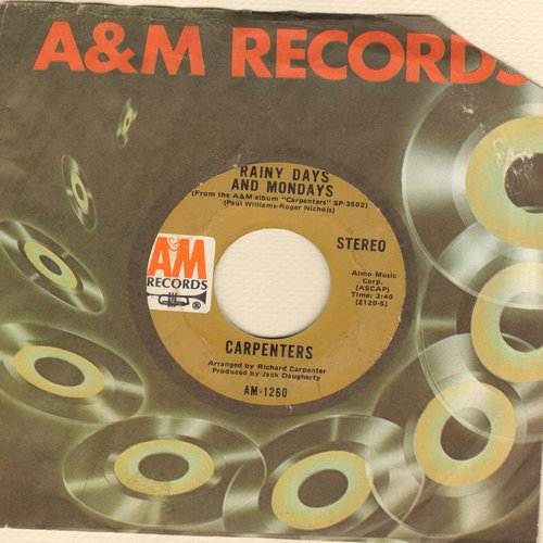 Carpenters - Rainy Days And Mondays/Saturday (with A&M company sleeve) - EX8/ - 45 rpm Records
