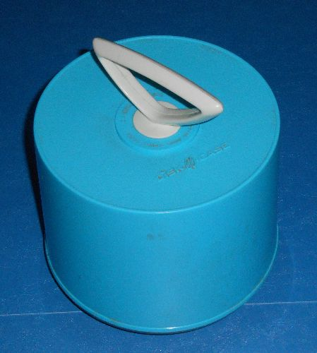 Carry Case for 45s - 1970s style Disc-O-Case, baby blue with white Tinky Winkie handle, holds about 50 7 inch 45 rpm records. NICE piece of vinyl memerabilia! (PRIORITY SHIPPING ONLY!) - EX8/ - Supplies