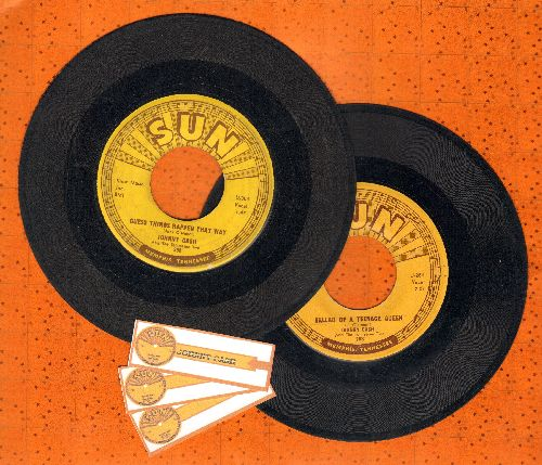 Cash, Johnny - 2 First Pressing 45rpm records for the price of 1: Ballad Of A Teenage Queen/Guess Things Happen That Way (shipped in plain white paper sleeves with 3 blank juke box labels) - VG6/ - 45 rpm Records