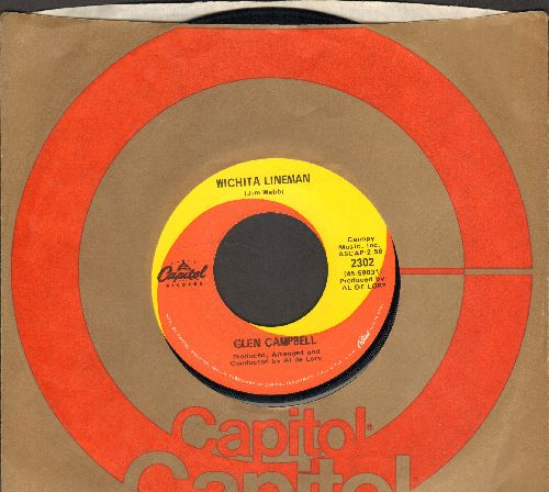 Campbell, Glen - Wichita Lineman/Fate Of Man (with Capitol company sleeve) - EX8/ - 45 rpm Records