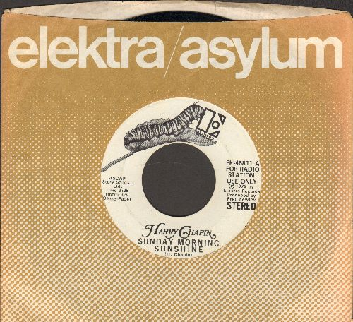 Chapin, Harry - Sunday Morning Sunshine (double-A-sided DJ advance pressing with Elektra company sleeve) - VG7/ - 45 rpm Records