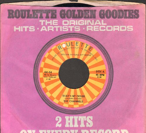 Channels - Altar Of Love/That's My Desire (double-hit re-issue with Roulette company sleeve) - NM9/ - 45 rpm Records