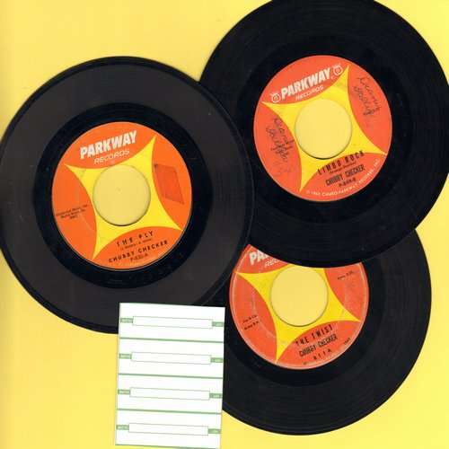 Checker, Chubby - Vintage Chubby Checker 3-Pack. Original 45s include hits The Twist, The Fly and Limbo Rock. Shipped in plain white paper sleeves with 4 blank juke box labels. GREAT for a juke box! - VG7/ - 45 rpm Records