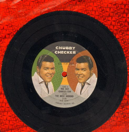 Checker, Chubby - The Ray Charles-Ton/The Mess Around/The Jet/The Continental Walk (7 inch vinyl Photo Picture EP record, PROMO Pressing with small spindle hole) - VG7/ - 45 rpm Records