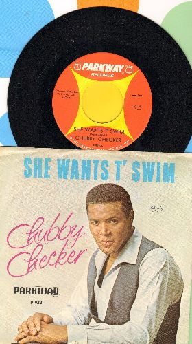 Checker, Chubby - She Wants T' Swim/You Better Believe It Baby (with picture sleeve) - NM9/EX8 - 45 rpm Records