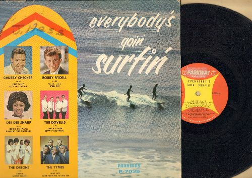 Checker, Chubby, Bobby Rydell, Dee Dee Sharp, Orlons, Tymes, Dovelles - Everybody's Goin' Surfin': Surf Party, Surfin' U.S.A., Riding The Waves, Mister Surfer, Come With Me To The Sea, Let's Surf Again (vinyl MONO LP record, minor woc) - VG7/EX8 - LP Reco