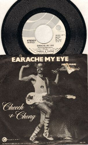 Cheech & Chong - Earache My Eye/Turn That Thing Down (with RARE picture sleeve)(ssos) - EX8/VG7 - 45 rpm Records