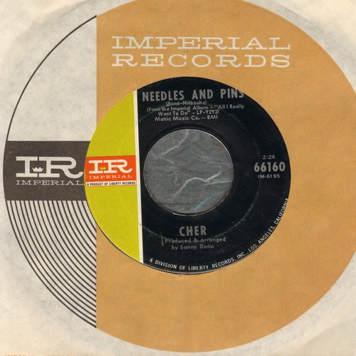 Cher - Needles And Pins/Bang Bang (My Baby Shot Me Down) (less common pressing featuring Needles And Pins, with Imperial company sleeve) - NM9/ - 45 rpm Records