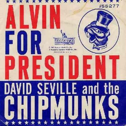Chipmunks - Alvin For President/Sack Time (RARE early Chipmunks Novelty with picture sleeve) - EX8/VG7 - 45 rpm Records