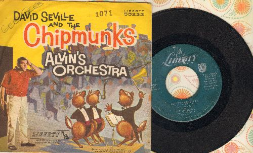 Chipmunks - Alvin's Orchestra/Copyright 1960 (hard-to-find Chipmunks Novelty Record with picture sleeve - NICE Condition!) - VG7/VG7 - 45 rpm Records