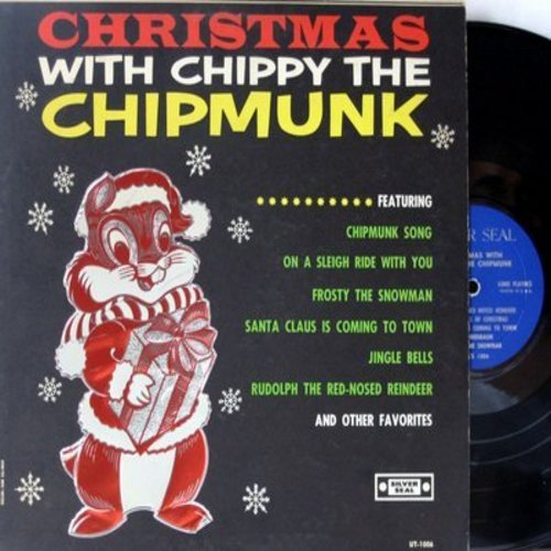 Chippy The Chipmunk - Christmas with Chippy the Chipmunk: Chipmunk Song, Deck The Halls, Santa Claus Is Coming To Town, Frosty The Snowman (vinyl MONO LP record) - NM9/EX8 - LP Records