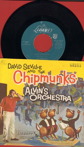 Chipmunks - Alvin's Orchestra/Copyright 1960 (hard-to-find Chipmunks Novelty Record with picture sleeve - NICE Condition!)(publishing date in upper left corner of sleeve) - M10/NM9 - 45 rpm Records