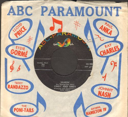Cindy & Lindy - Sharin'/Sittin' It Out (with ABC-Paramount company sleeve) - EX8/ - 45 rpm Records
