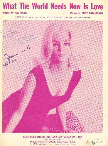 DeShannon, Jackie - What The World Needs Now Is Love - Vintage SHEET MUSIC for the song made popular by Jackie DeShannon (NICE cover pose of the singer, woc) - EX8/ - 45 rpm Records