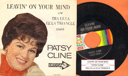 Cline, Patsy - Leavin' On Your Mind/Tra Le La Le La Triangle (with RARE picture sleeve) - NM9/VG7 - 45 rpm Records
