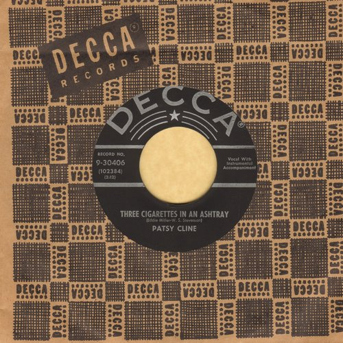 Cline, Patsy - Three Cigarettes In An Ashtray/A Stranger In My Arms (MINT condition with vintage Decca company sleeve) - M10/ - 45 rpm Records
