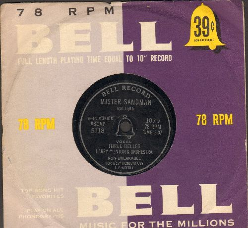 Belles - Mister Sandman/Bazoom (I Need Your Lovin') (RARE 7 inch 78rpm record with vintage Bell company sleeve, small spindle hole) - VG7/ - 45 rpm Records