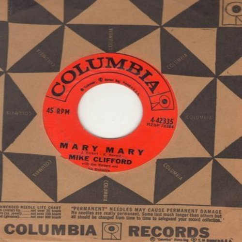 Clifford, Mike - Mary Mary/Joanna (DJ advance pressing with Columbia company sleeve) - VG7/ - 45 rpm Records