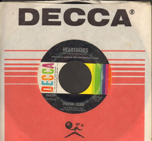 Cline, Patsy - Heartaches/Why Can't He Be You (with Decca company sleeve) - VG7/ - 45 rpm Records