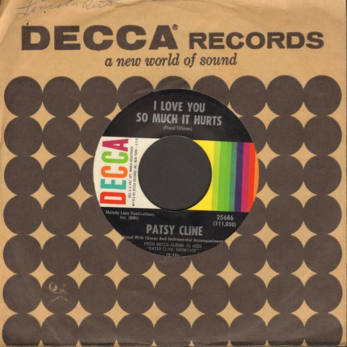 Cline, Patsy - I Love You So Much It Hurts/Seven Lonely Days (with vintage Decca company sleeve) - EX8/ - 45 rpm Records