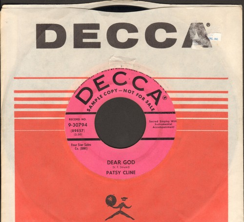 Cline, Patsy - Dear God/He Will Do For You (DJ advance pressing with Decca company sleeve, wol) - VG7/ - 45 rpm Records