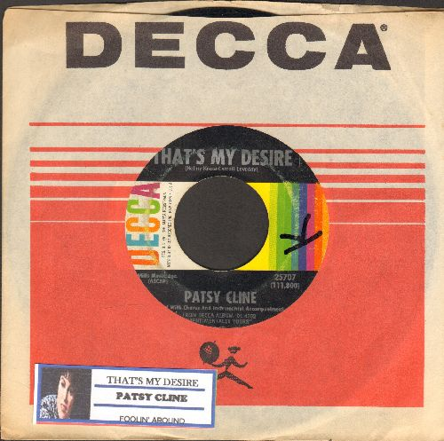 Cline, Patsy - That's My Desire/Foolin' 'Round (with Decca company sleeve and juke box label) (minor wol) - VG7/ - 45 rpm Records
