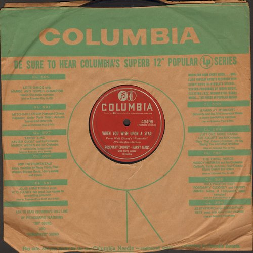 Clooney, Rosemary - When You Wish Upon A Star/It Might As Well Be Spring (10 inch 78 rpm record with Columbia company sleeve) - EX8/ - 78 rpm