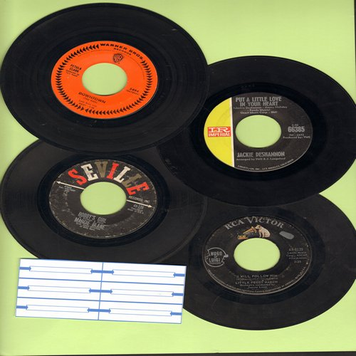 Blane, Marcie, Petula Clark, Jackie De Shannon, Little Peggy March - 60s Girls-Sound 4-Pack. First pressing hits include Downtown, I Will Follow Him, Bobby's Girl and Put A Little Love In Your Heart. GREAT for a juke box! - VG7/ - 45 rpm Records