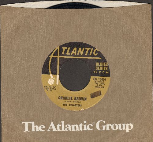 Coasters - Charlie Brown/I'm A Hog For You (double-hit 1970s pressing with Atlantic company sleeve) - EX8/ - 45 rpm Records