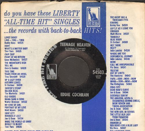 Cochran, Eddie - Teenage Heaven/Summertime Blues (early double-hit re-issue with company sleeve) - NM9/ - 45 rpm Records