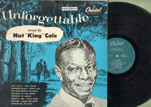 Cole, Nat King - Unforgettable: For Sentimental Reasons, Red Sails In The Sunset, Answer Me My Love, Pretend (vinyl MONO LP record, green label first pressing) - VG7/VG7 - LP Records