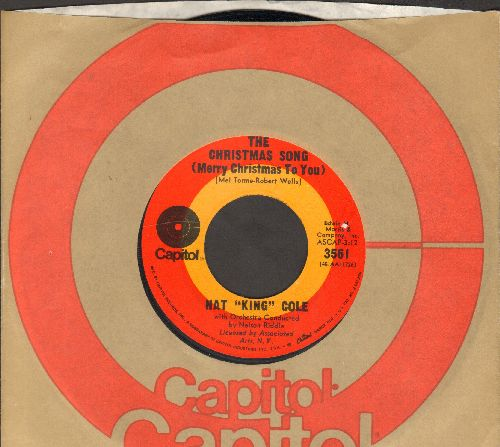 Cole, Nat King - The Christmas Song/The Little Boy That Santa Claus Forgot (1970s re-issue with Capitol company sleeve) - NM9/ - 45 rpm Records