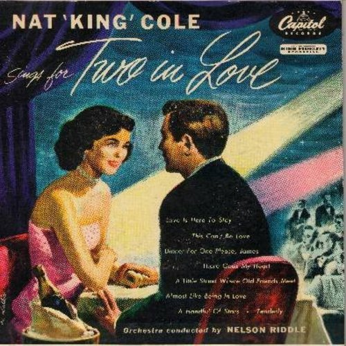 Cole, Nat King - Sings for Two in Love: Love Is Here To Stay/This Can't Be Love/Dinner For Onle Please James/There Goes My Heart/Tenderly + 3 more! (2 vinyl 45rpm EP record, gate-fold cover) - EX8/EX8 - 45 rpm Records