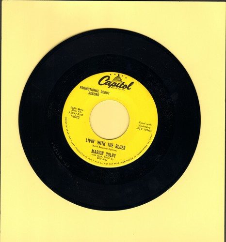 Colby, Marion - Livin' With The Blues/I'm No Angel (MINT condition DJ advance pressing) - M10/ - 45 rpm Records