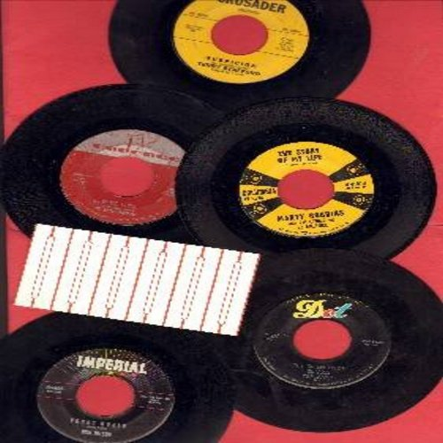 Robbins, Marty, Jim Lowe, Rick Nelson, Terry Stafford, Everly Brothers - Vintage Rock & Roll 5-Pack: Original first issues with 6 blank jukebox labels. Hits include The Story Of My Life, The Green Door, When Will I Be Loved, Suspicion, Young World. Great