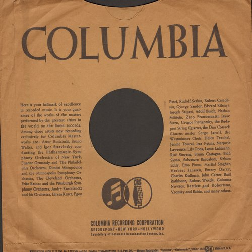 Company Sleeves - 10 inch vintage Columbia company sleeve (exactly as pictured), shipped in 10 inch clear plastic sleeve. Enhances and protects you collectable 10 inch 78 rpm record! DUE TO POST OFFICE REGULATIONS THIS ITEM CAN ONLY BE SENT PRIORITY MAIL.