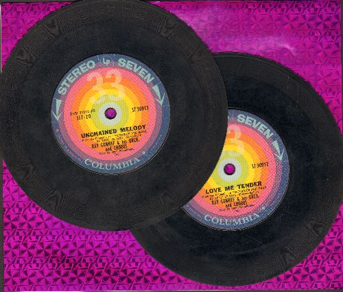 Conniff, Ray Singers - 2 for 1 Sale: Unchained Melody/Love Me Tender - 2 records for the price of 1! ( 7 inch 33rpm STEREO records, small spindle hole) - EX8/ - 45 rpm Records