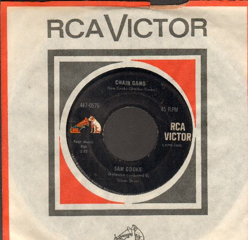 Cooke, Sam - Chain Gang/Cupid (early double-hit re-issue with RCA company sleeve) - EX8/ - 45 rpm Records