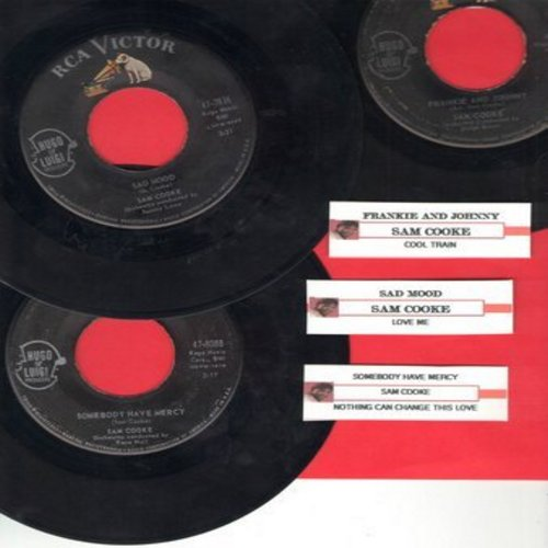 Cooke, Sam - Sam Cooke 45s, first issues with juke box label. Hits include Sad Mood, Frankie And Johnny, Somebody Have Mercy. In very good or better condition, shipped in plain white paper sleeves.  - VG7/ - 45 rpm Records