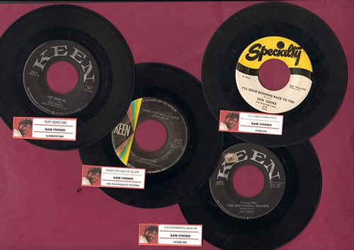 Cooke, Sam - Sam Cooke 4-Pack with juke box labels. First pressing hits include You Send Me, For Sentimental Reasons, I'll Come Running Back To Yopu and There, I've Said It Again. GREAT for a juke box! - VG6/ - 45 rpm Records