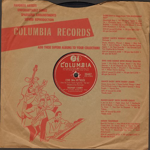 Clooney, Rosemary - Come On-A My House/Rose Of The Mountain (10 inch 78 rpm record with Columbia company sleeve) - VG7/ - 78 rpm