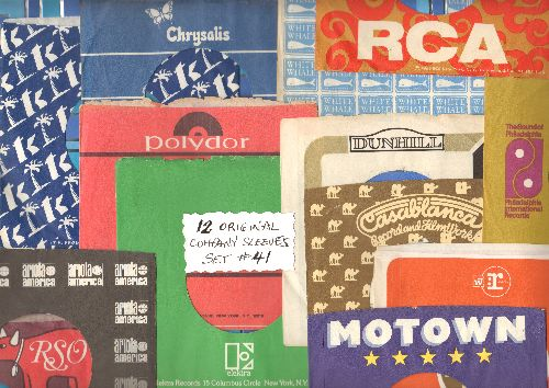 Company Sleeves - 12 Vintage Company Sleeves - Set #012-41 (exactly as pictured!) - Dress up your 7 inch vinyl records in original company sleeves of the 1960s & 70s. Good to excellent condition. - /EX8 - Supplies